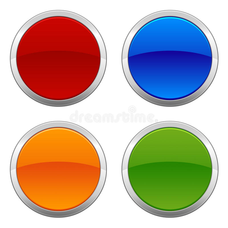 Circular Badges. A set of four colorful circular metallic badges left intentionally blank for customization royalty free illustration