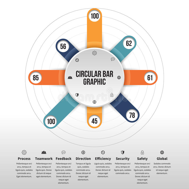 Circular Bar Graphic. Vector illustration of circular bar infographic design element vector illustration