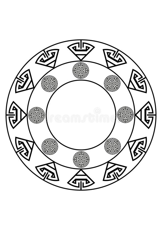 Circular black and white abstract design with curved objects royalty free stock image