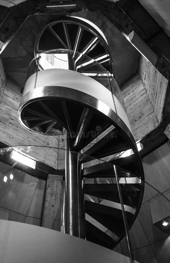 Circular black and white staircase Zaragoza made of metal and glas. A circular staircase made of metal and glas. Located in one of the towers of El pilar in royalty free stock photos