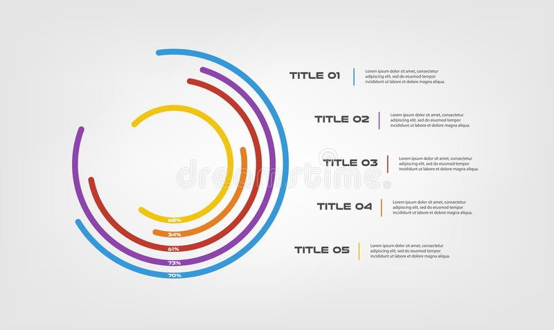 Circular chart color infographics step by step in a series of circle. Element of chart, graph, diagram with 5 options - stock illustration