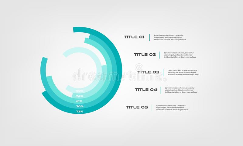 Circular chart color infographics step by step in a series of circle. Element of graph, diagram with 5 options- 20, 40 stock illustration