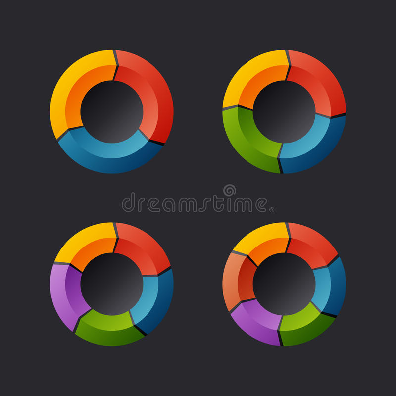 Circular Chart Template Set. Vector royalty free illustration
