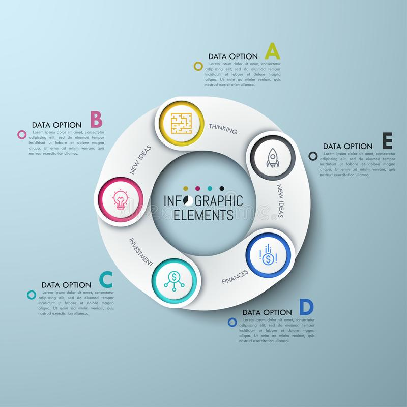 Circular chart with 5 white overlapping elements. Thin line icons and lettered text boxes. Five links of production supply chain concept. Creative infographic royalty free illustration