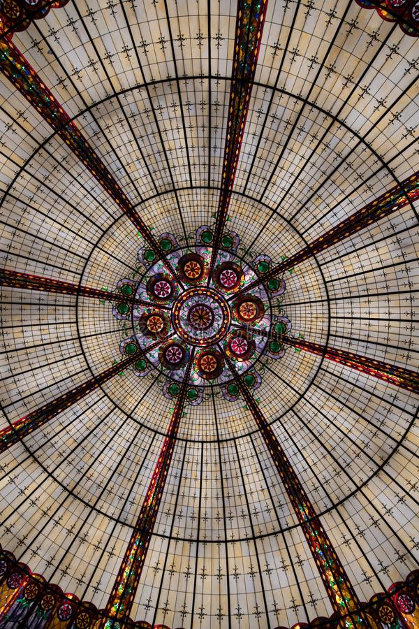 Circular colorful stained glass ceiling royalty free stock images