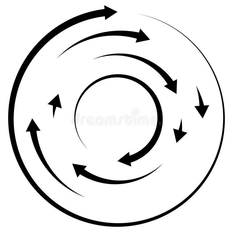 Circular concentric arrows. Cyclic, cycle arrows. Arrow element. To illustrate Ripple, swirl, twirl concepts - Royalty free vector illustration royalty free illustration