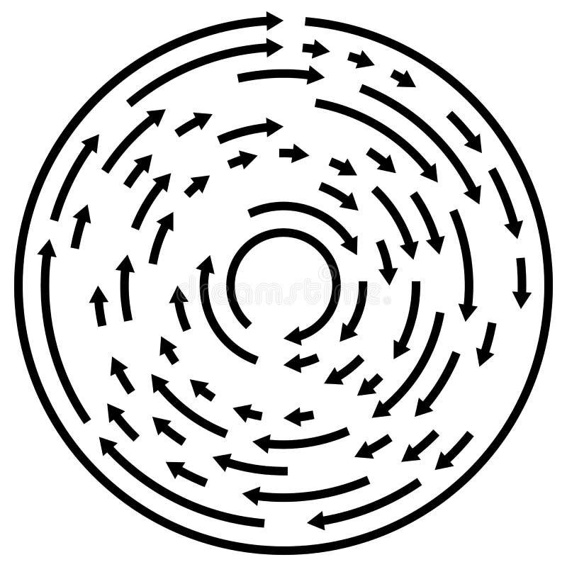 Circular concentric arrows. Cyclic, cycle arrows. Arrow element vector illustration