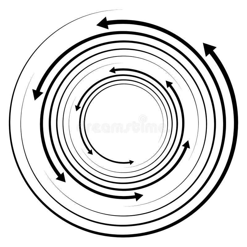 Circular concentric arrows. Cyclic, cycle arrows. Arrow element royalty free illustration