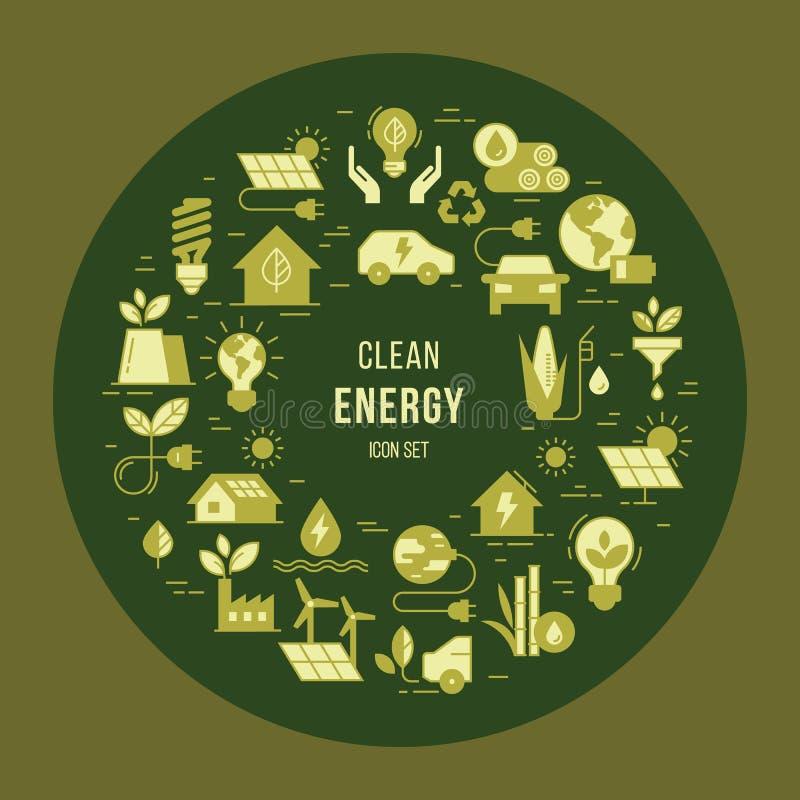 Circular concept set of vector green power symbol. royalty free illustration