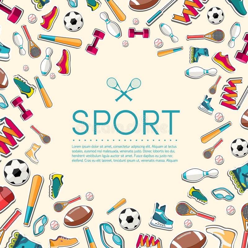 Circular concept of sports equipment sticker vector illustration