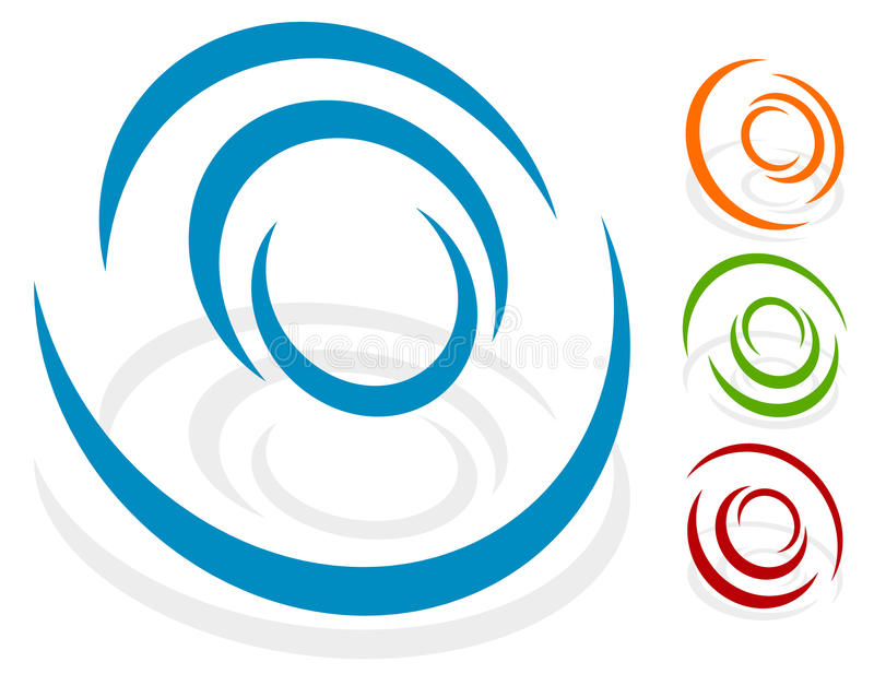 Circular design element, logo shape 4 different version with 4. Colors. Transparent shadows. - Royalty free vector illustration stock illustration