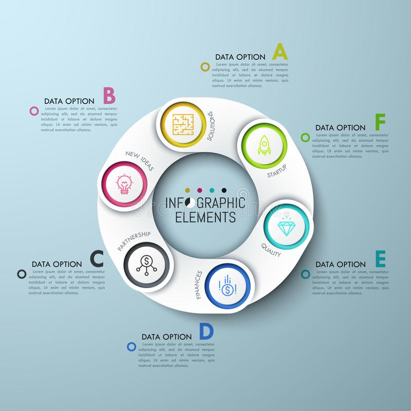 Circular diagram with 6 paper white overlaying elements royalty free illustration