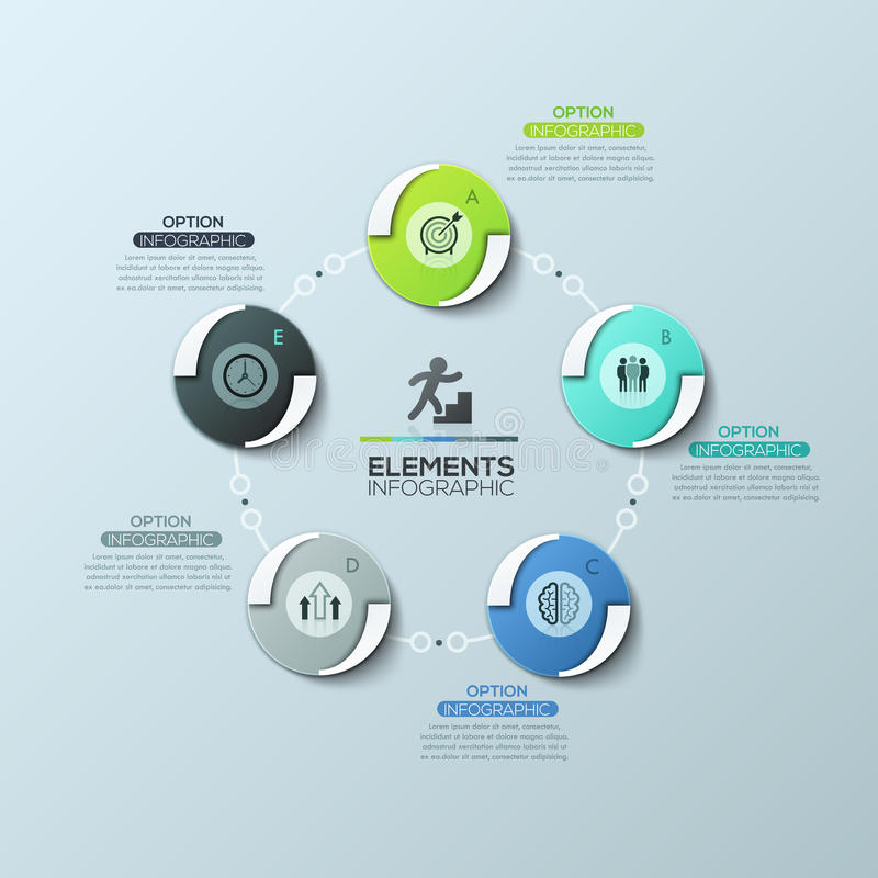 Circular diagram with 5 round elements connected by lines and text boxes, modern infographic design layout. Visualization of cyclic business process. Vector royalty free illustration