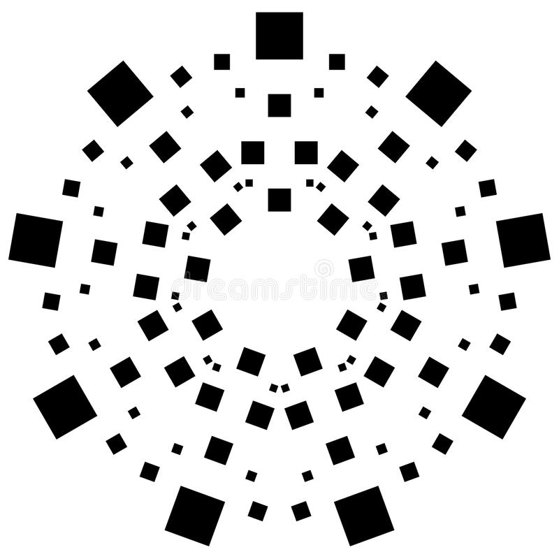 Circular element made of squares. Squares rotating. Abstract mon. Ochrome design element on white - Royalty free vector illustration vector illustration