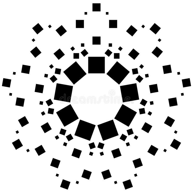 Circular element made of squares. Squares rotating. Abstract mon. Ochrome design element on white - Royalty free vector illustration royalty free illustration