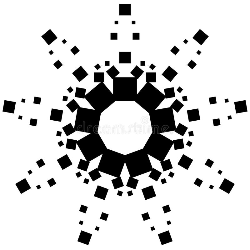 Circular element made of squares. Squares rotating. Abstract mon. Ochrome design element on white - Royalty free vector illustration stock illustration
