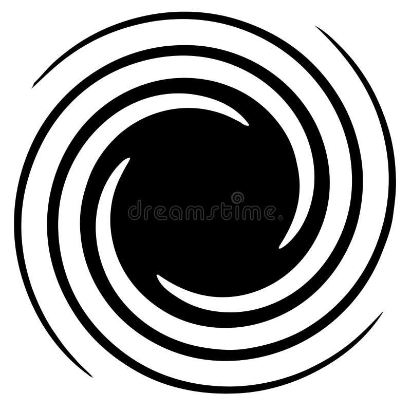 Circular, elemento abstracto radial en blanco Radiación de forma con stock de ilustración
