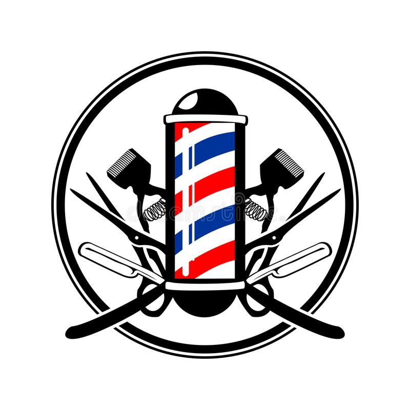 Free Circular Emblem Barber& X27;s Pole With Scissor, Razor And Old Clippers Royalty Free Stock Photography - 109994757