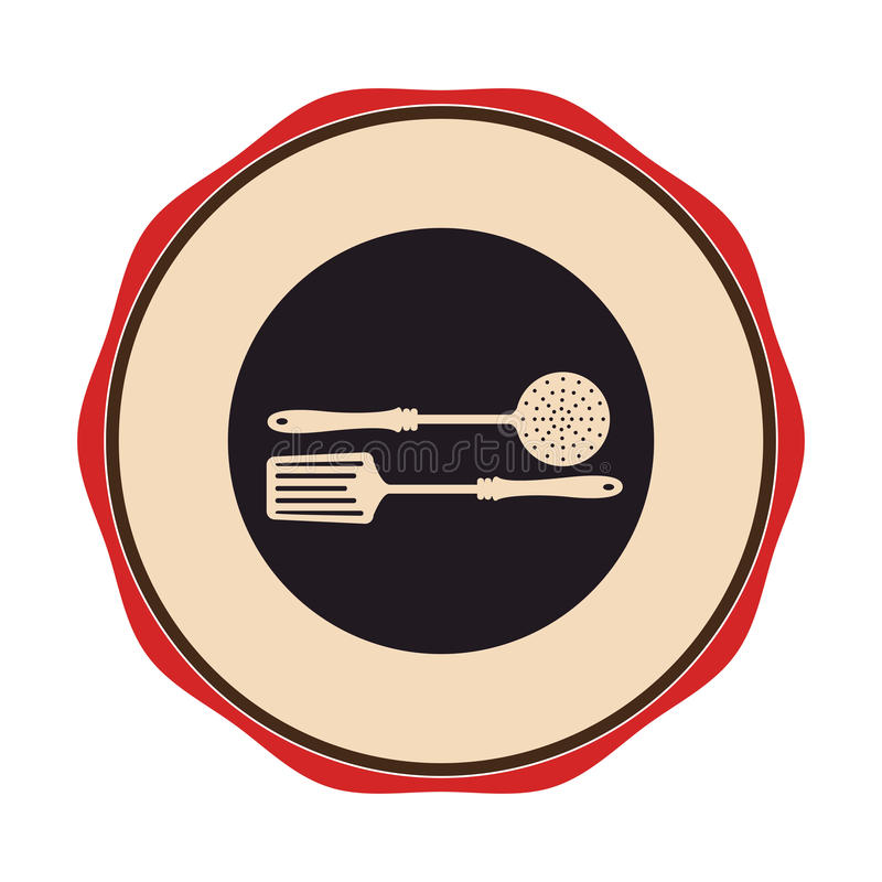 Circular emblem with frying spoon set. Vector illustration vector illustration