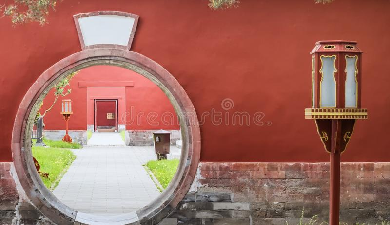 Circular entrance at the Palace of Abstinence, Temple of Heaven, Beijing, China.  stock photo