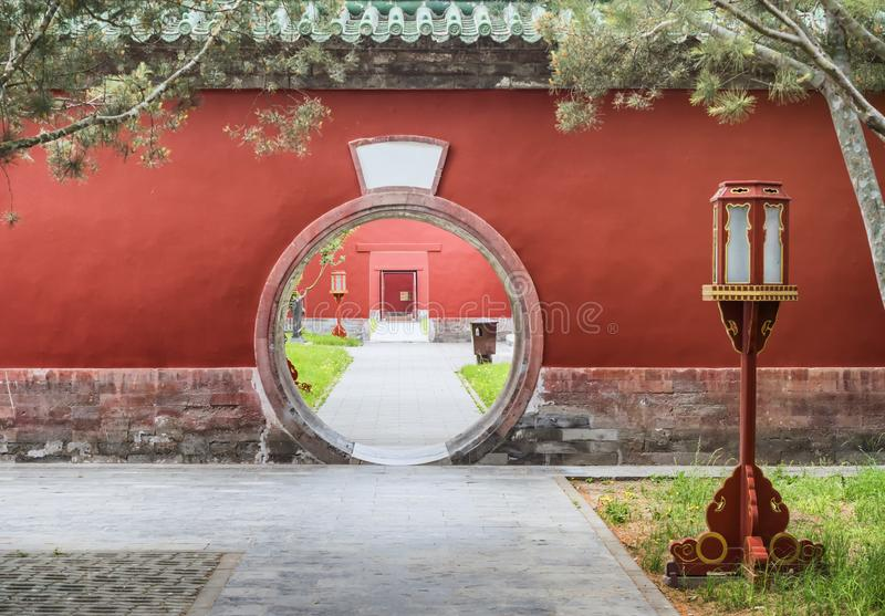 Circular entrance at the Palace of Abstinence, Temple of Heaven, Beijing, China.  royalty free stock photo