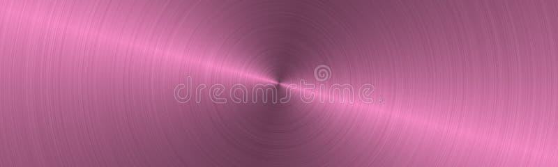A circular escovou a superfície de metal cor-de-rosa Textura do metal Fundo de a?o abstrato ilustração royalty free