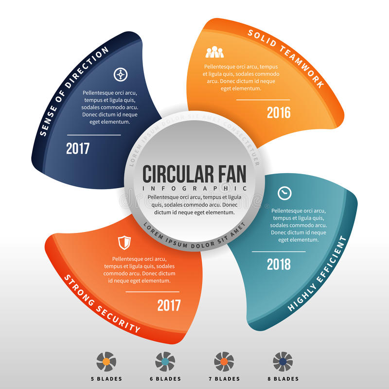 Circular Fan Infographic. Vector illustration of circular fan infographic design element royalty free illustration