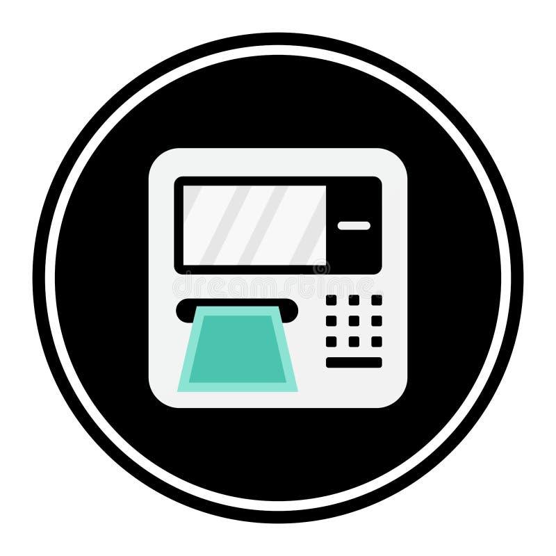 Circular, flat ATM machine icon. White/grey on black. Isolated on white. Circular, flat ATM machine icon. White/grey on black. Isolated on a white background vector illustration