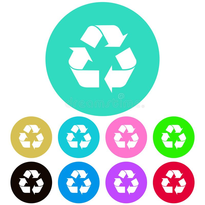 Circular, flat recycle symbol/icon. Nine color variations. Isolated on white royalty free illustration