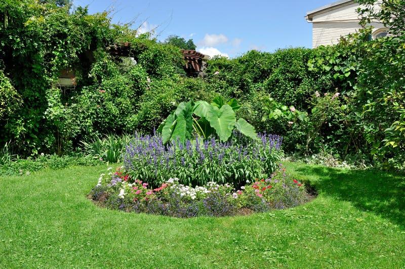Circular flower bed stock image