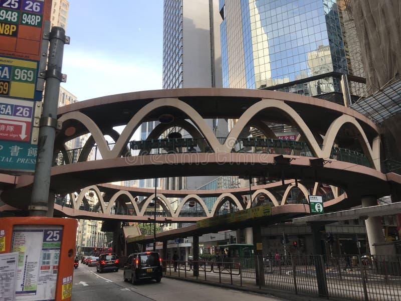 Circular footbridge in Causeway Bay, Hong Kong stock images