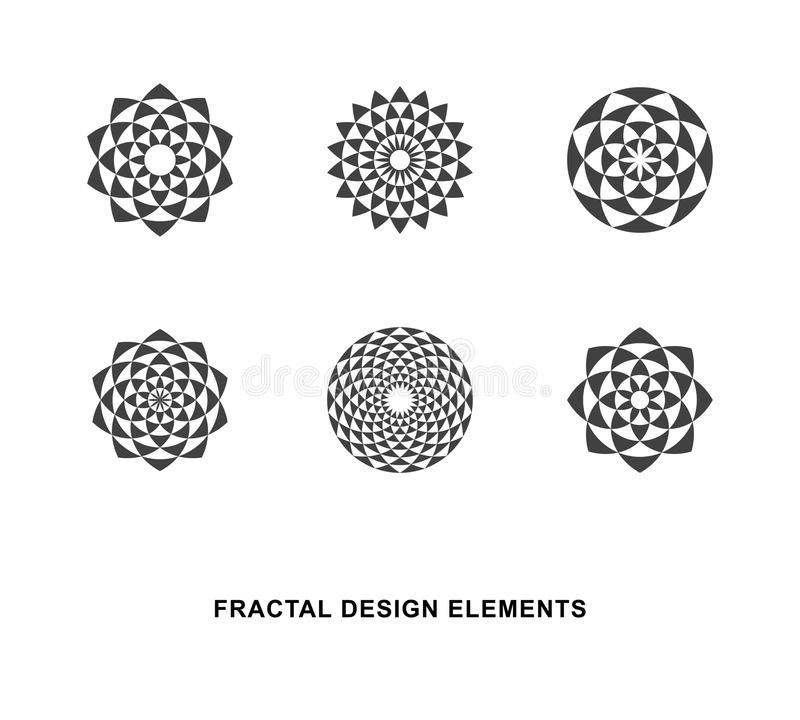 Circular Fractal Design Elements. Set of Black and White Circular Fractal Design Elements. Digital flower. Vector illustration vector illustration