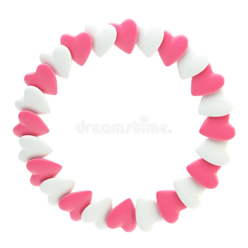 Circular frame border made of hearts isolated stock illustration