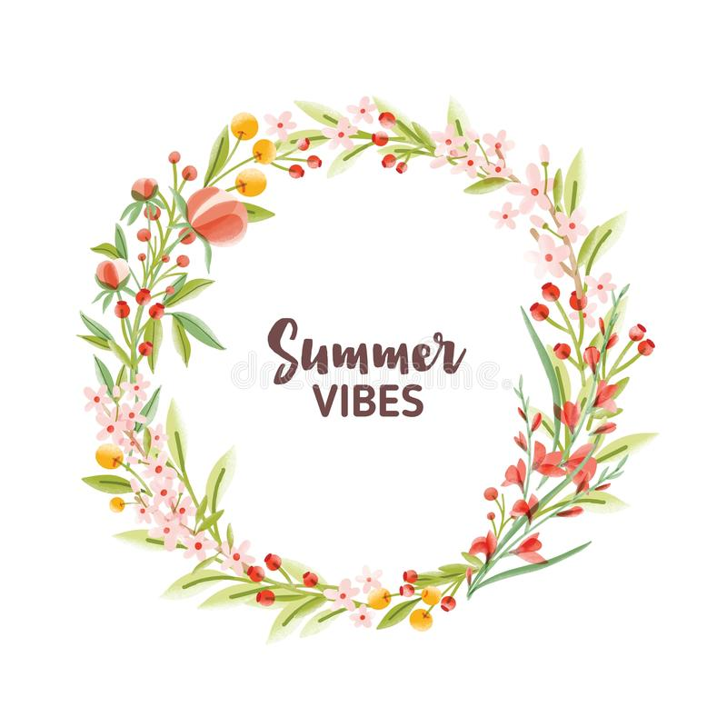 Circular frame, garland, wreath or border made of colorful blooming seasonal flowers, berries and leaves and Summer royalty free illustration