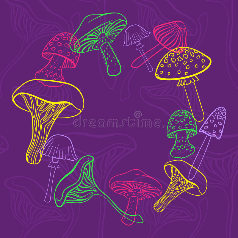 Free Circular Frame Of Different Hand Drawn Mushrooms In Bright Colors On Purple Backgraund. Can Be Used As Restaurant Menu Royalty Free Stock Images - 66892049