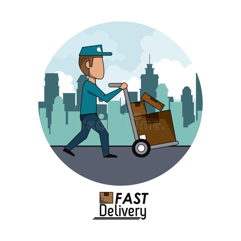 Circular frame poster city landscape fast delivery man with hand truck packages vector illustration