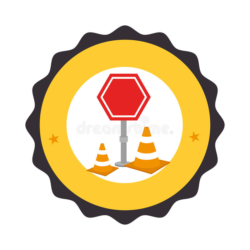 Circular frame with road sign pictogram with traffic cone with lines orange and white vector illustration
