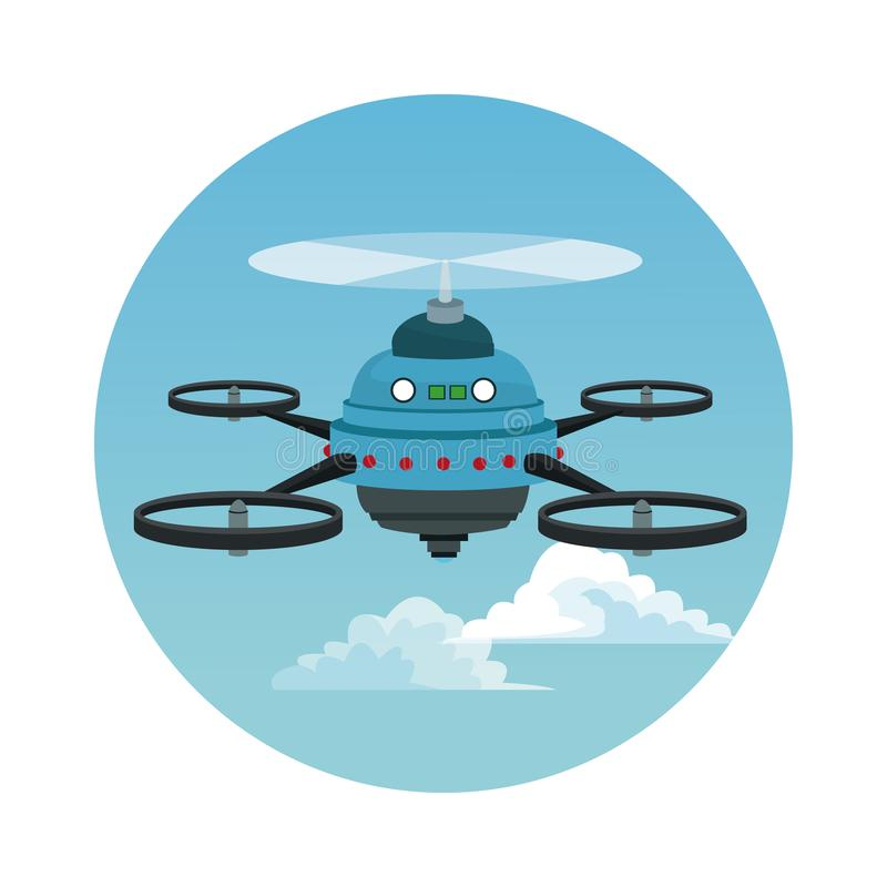 Circular frame with sky landscape scene and blue robot drone with five airscrew. Vector illustration royalty free illustration