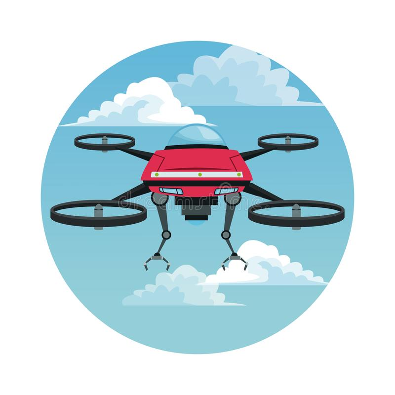 Circular frame with sky landscape scene and red robot drone with metal arms and four airscrew. Vector illustration stock illustration