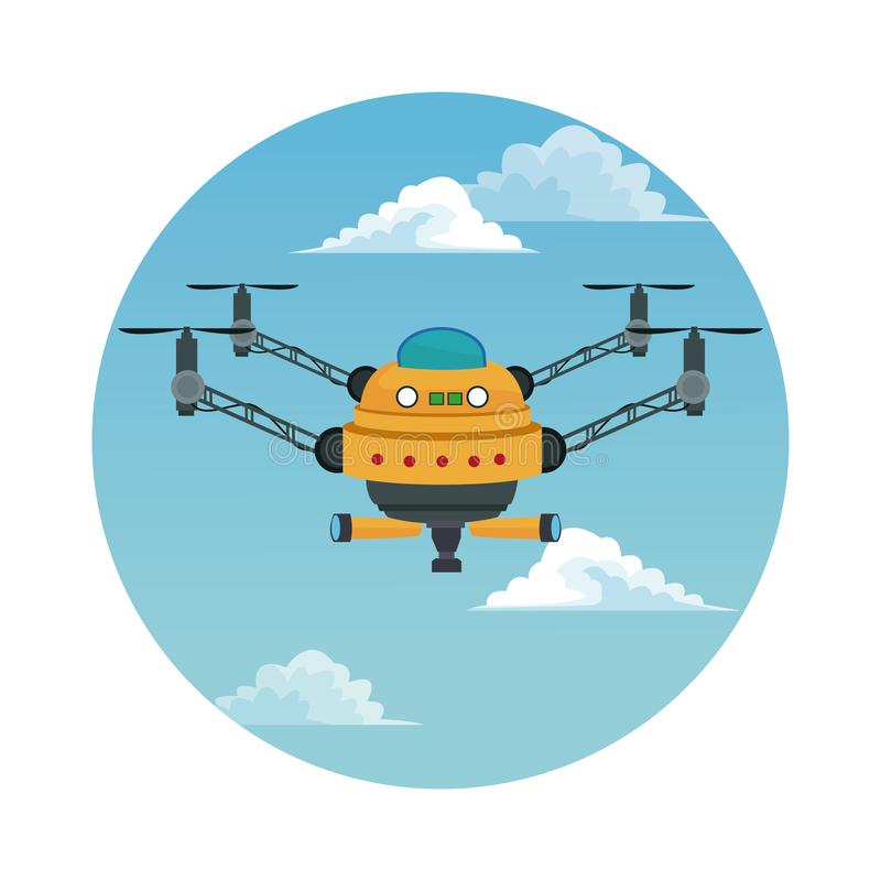 Circular frame with sky landscape scene and yellow robot drone with four airscrew and pair of telescope. Vector illustration royalty free illustration