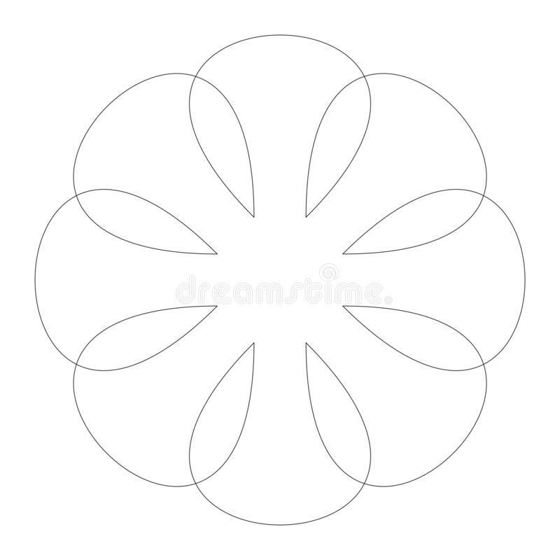Circular geometric design elements with editable lines outline is not expanded. Abstract radial mandala, motif element. Concentric lines ornament  - Royalty royalty free illustration