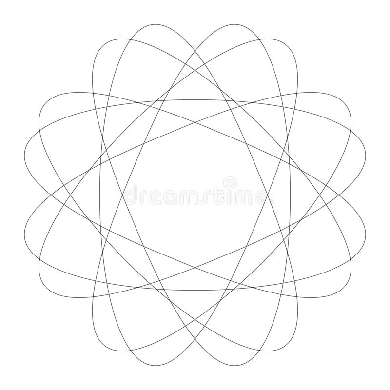 Circular geometric design elements with editable lines outline is not expanded. Abstract radial mandala, motif element. Concentric lines ornament  - Royalty stock illustration
