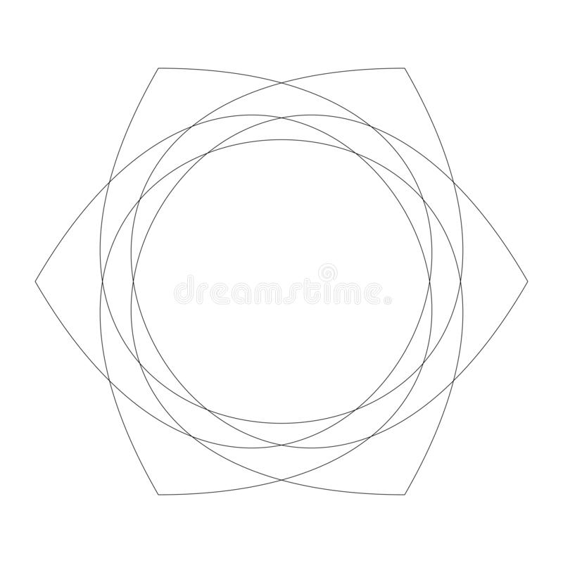 Circular geometric design elements with editable lines outline is not expanded. Abstract radial mandala, motif element. Concentric lines ornament  - Royalty vector illustration