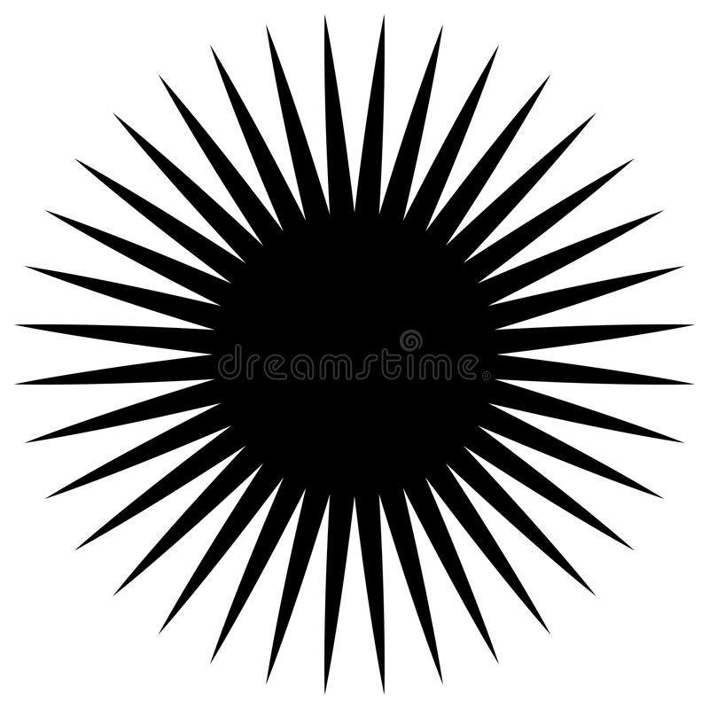 Circular geometric element of radial spokes, lines. Abstract black and white illustration. Geometric circle motif, circle mandala stock illustration