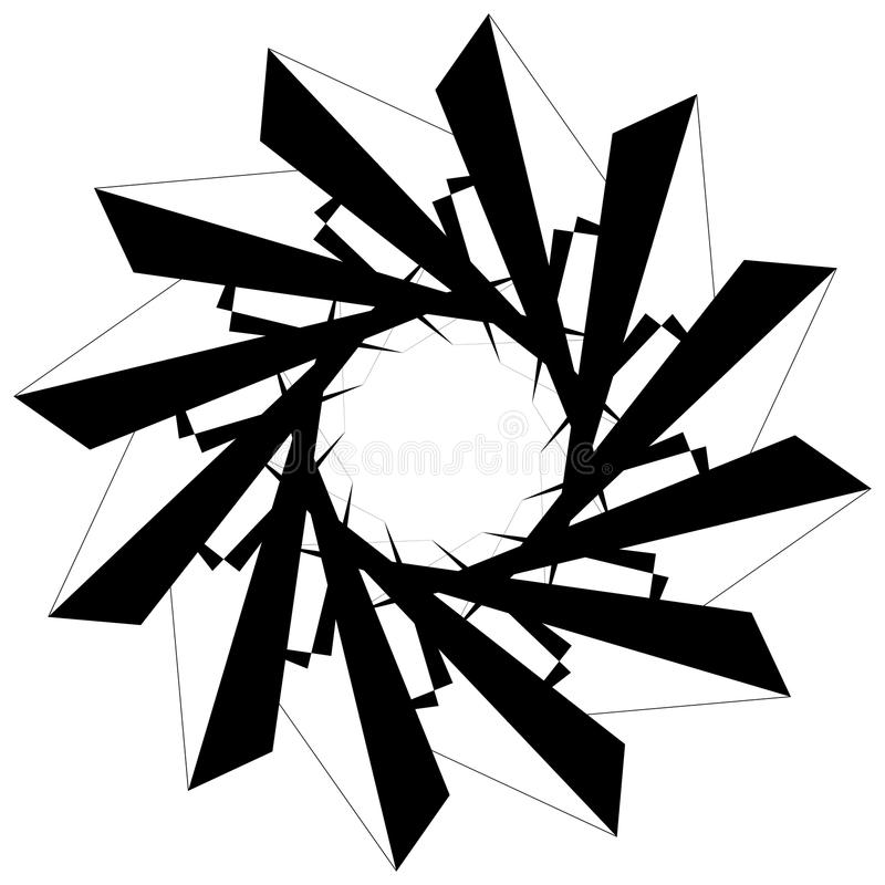 Circular geometric element. Rotating shapes, forms abstract illustration. Royalty free vector illustration royalty free illustration