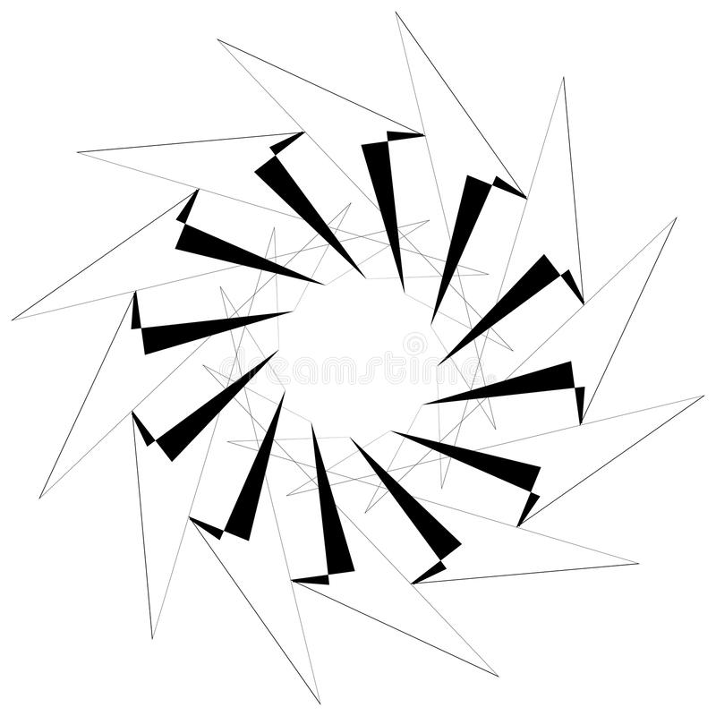 Circular geometric element. Rotating shapes, forms abstract illustration. Royalty free vector illustration stock illustration