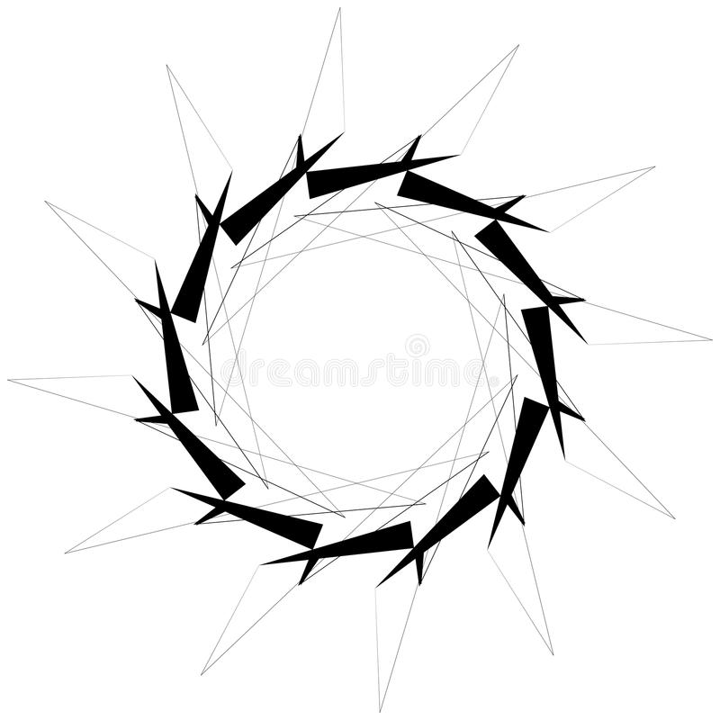 Circular geometric element. Rotating shapes, forms abstract illustration. Royalty free vector illustration vector illustration