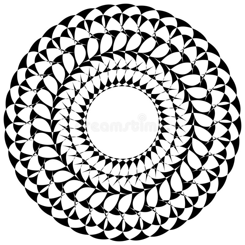 Circular geometric elements, rotating radiating shapes on whi royalty free illustration