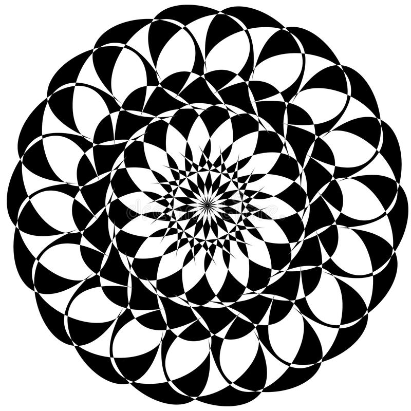 Circular geometric elements, rotating radiating shapes on whi royalty free illustration