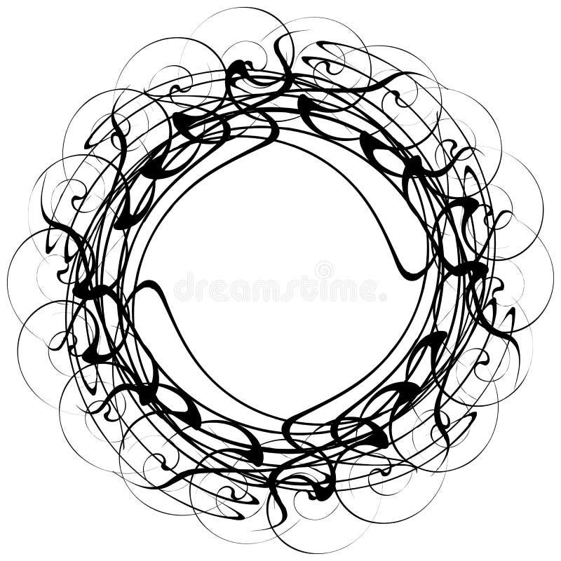 Circular geometric motif. Abstract grayscale op-art element stock illustration